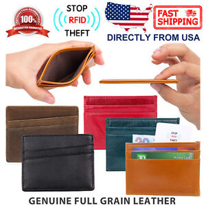 RFID-Block-Genuine-Top-Grain-Leather-Front-Pocket-Wallet-Slim-Credit-Card-Holder