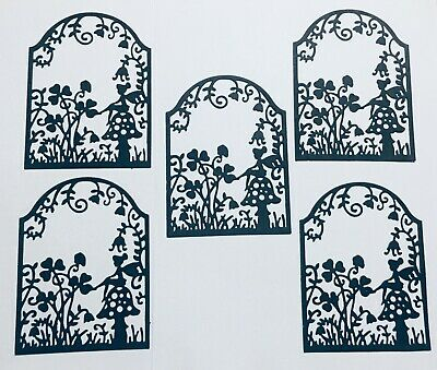 6 FAIRY FAIRIES SITTING ON MUSHROOM FLOWER GARDEN FRAME SILHOUETTE DIE CUT//CUTS