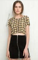 Brandy Melville Yellow Black Floral Button Up Crop Top
