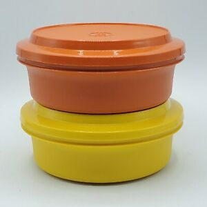 2-VTG-Tupperware-Seal-N-Serve-Bowls-W-Lids-Orange-amp-Yellow-1253-1207-Harvest