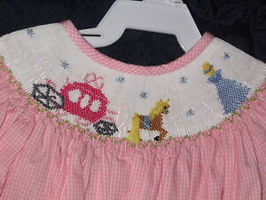 Girls-Smocked-LS-Bishop-5-PRINCESS-Cinderella-Disney-NEW-Vive-La-Fete-Dress