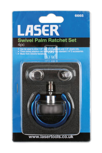 """LASER TOOLS SWIVEL HEAD PALM RATCHET SET 4 PIECE 1//4/"""" 3//8/"""" USE FOR TIGHT AREAS"""