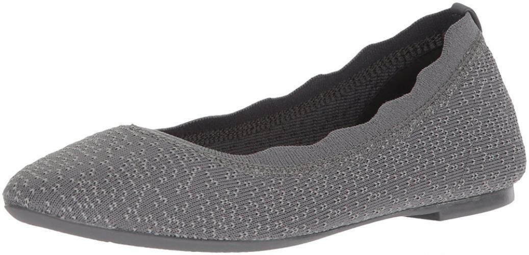 Skechers Women's Cleo-Dots-Scalloped Collar Engineered Knit Skimmer Ballet Flat
