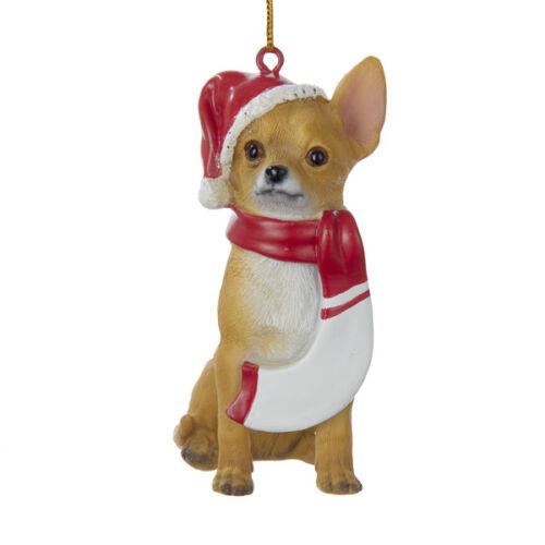 Chihuahua w//Santa Hat /& Scarf Ornament
