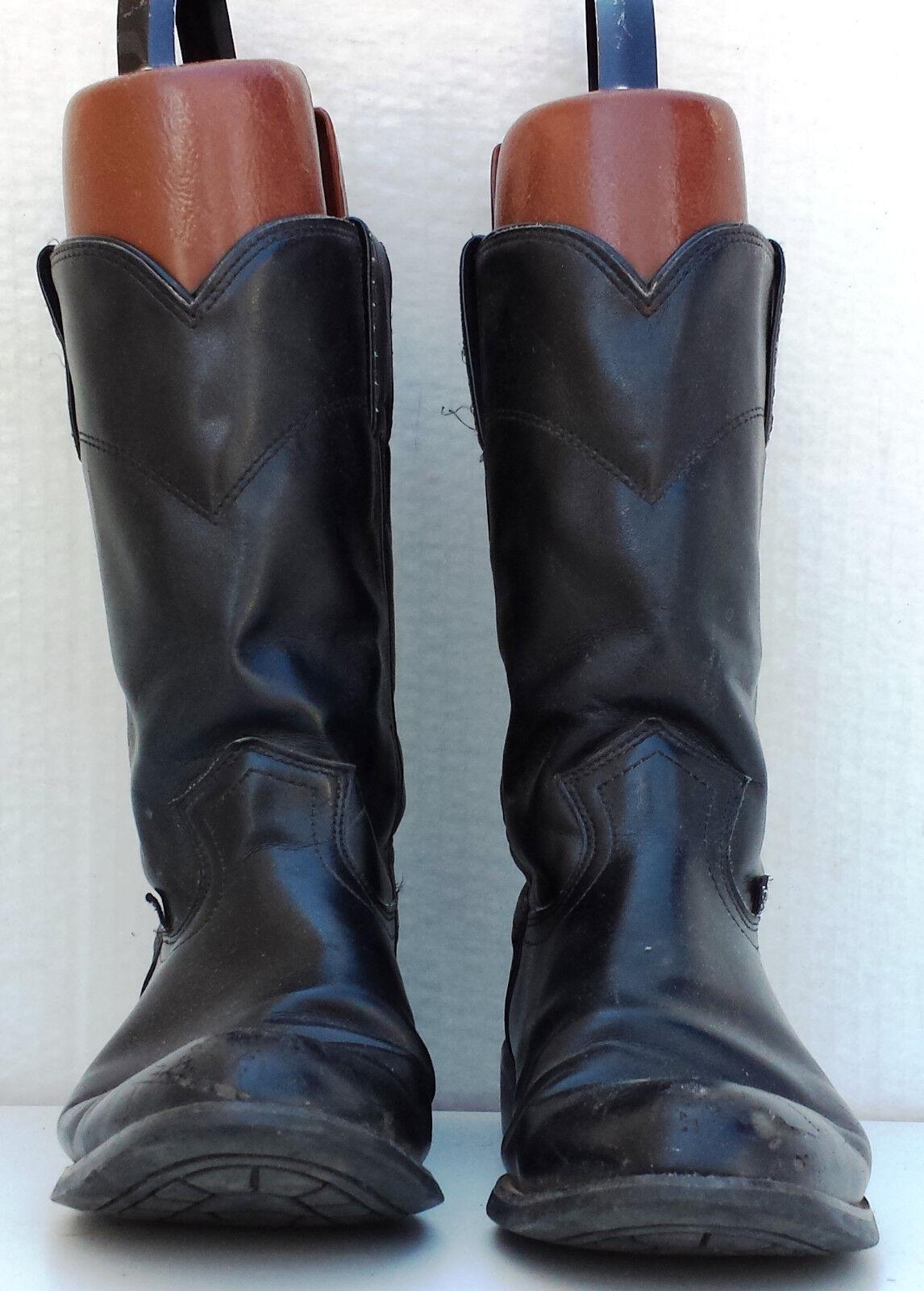 Womens Size 7 B Justin JBL3000 BLACK COW Roper Western Cowboy Boots
