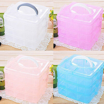 Handle Adjustable Plastic Storage Box Case Organizer 3 Layer