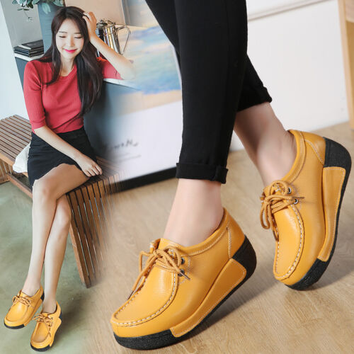Womens Wedge Mid-high Heels Real Leather Thick Sole Lace Up Casual Shoes A623