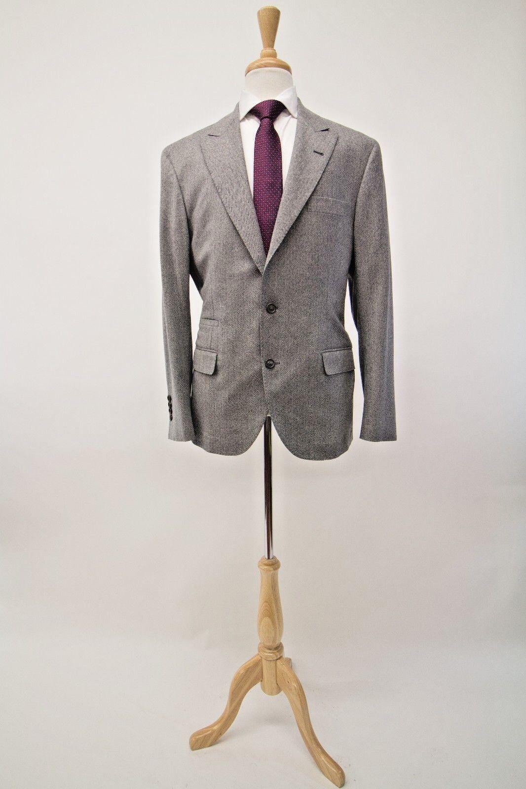 NWT4045 Brunello Cucinelli Men 100%Wool Herringbone Print 2Pc Suit 54/44US A181
