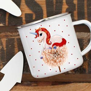 Emaille Tasse Becher Einhorn Auf Pusteblume Motiv Kaffeebecher Mit Punkten Eb02 Verbraucher Zuerst Büro & Schreibwaren