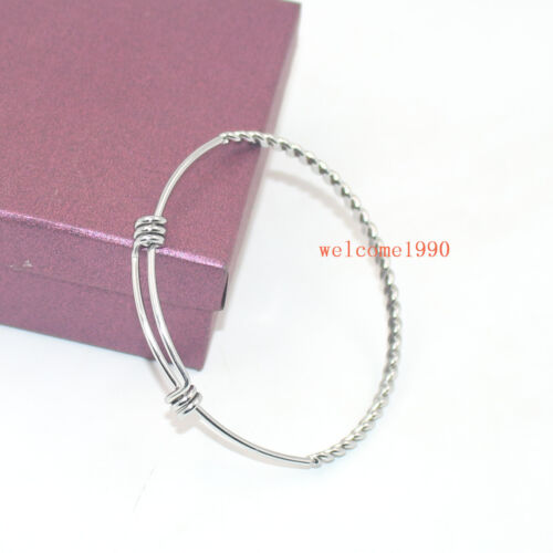 12pcs Lot Adjustable Wrapped Stainless Steel Bracelet Bangle Double Loops 2mm