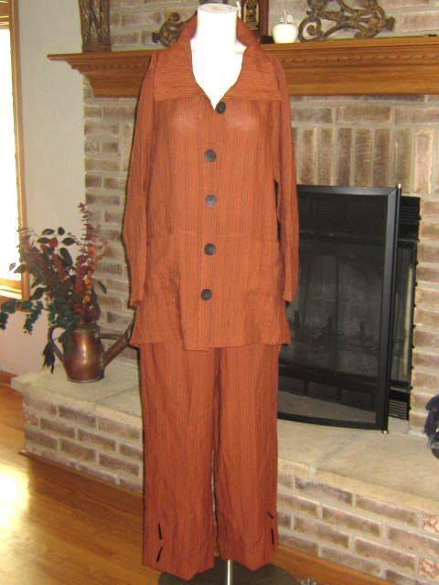 Lagenlook HABITAT Cinnamon Brown Stripe Tunic Top and Pant  S Art to Wear