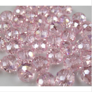 Faceted 100pcs Pink AB Rondelle glass crysta 4*6mm Beads DIY Jewelry