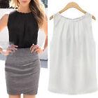 Fashion Sexy Fold Sleeveless Chiffon Women Blouses Casual Tops Women T- Shirt JR