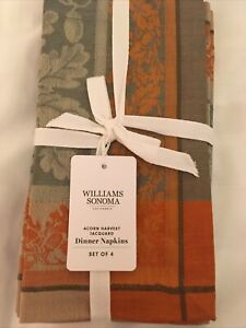 NWT-Williams-Sonoma-Acorn-Harvest-Jacquard-Dinner-Napkins-59-95