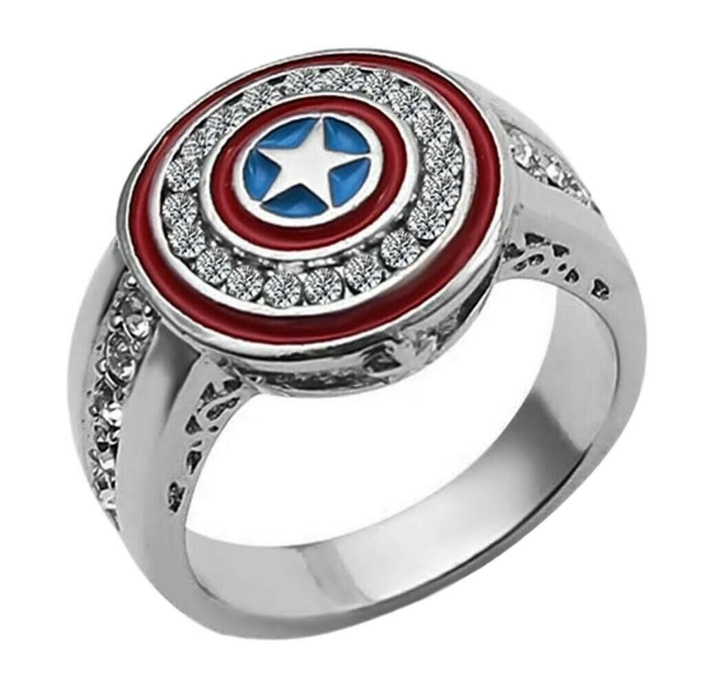 It is a picture of Captain America Shield Logo With Rhinestones Stainless Steel Band Ring