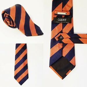 Saxony-Collection-Tie-Navy-Blue-Orange-Mens-Necktie-58-1-2-034-X-3-1-2-034