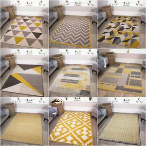 Yellow Ochre Grey Geometric Rug Scandi