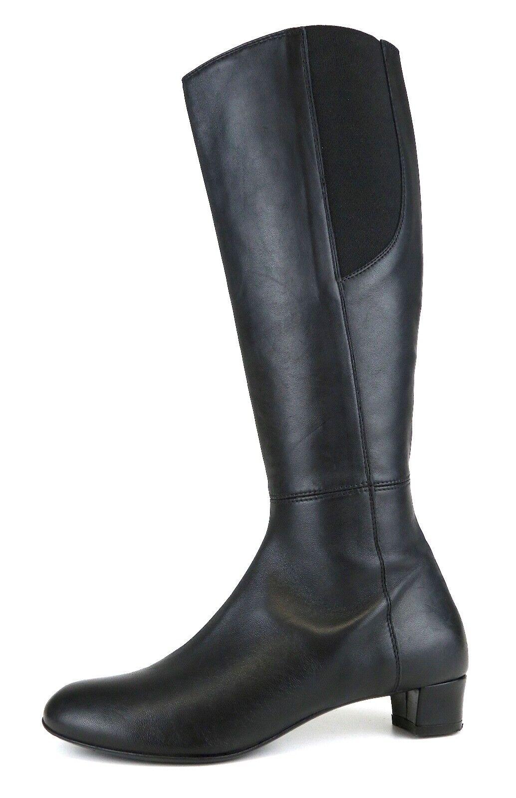 Attilio Giusti Leombruni Tall Leather Riding Boot Black Women Sz 37 EUR 5171