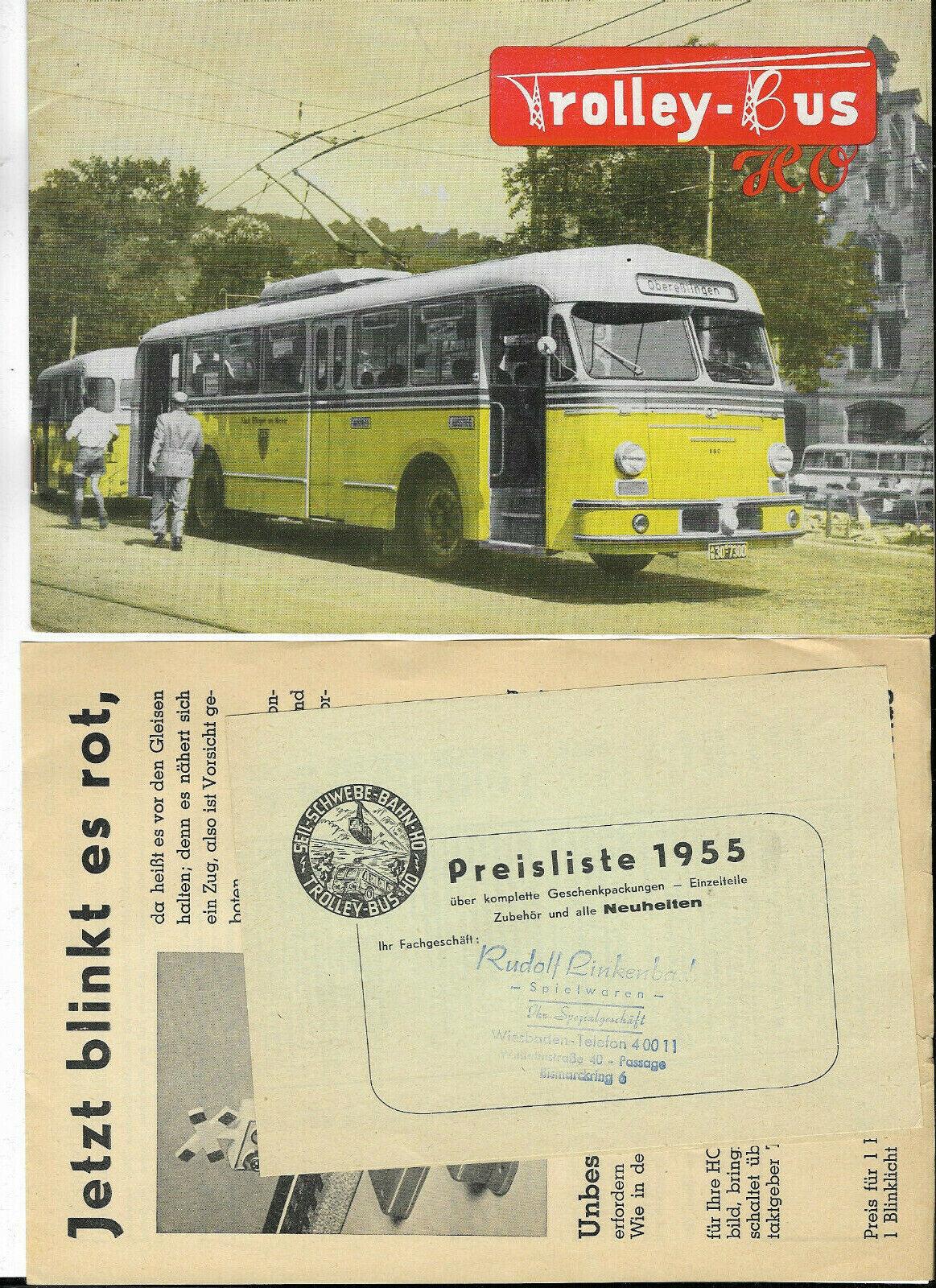 Trolley-bus h0 anteriormente EHEIM folleto 50er años con hoja  luz parpadeante