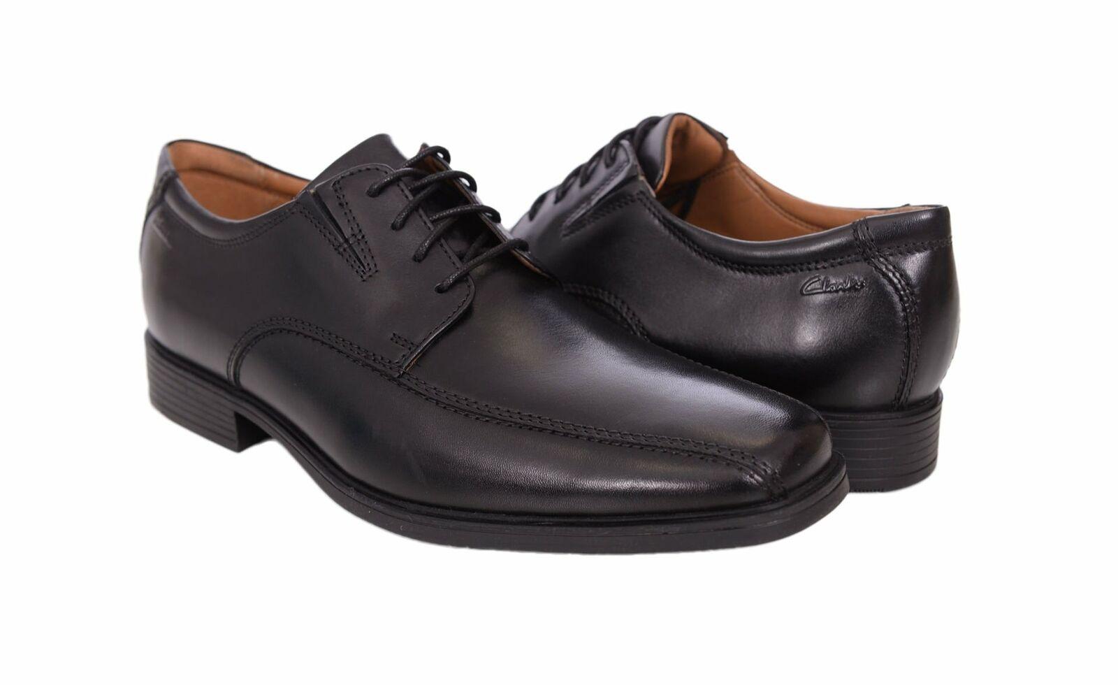 Clarks Tilden Walk Hommes Noir Vélo Toe en cuir chaussures