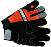 Hi-vis Grain Cowhide Work Glove Hook & Loop Closure - Orange Glove (pair)