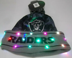 d49a92a1874 Oakland Raiders NAME NFL LED Light Up Hat Winter Pom Beanie Stocking ...