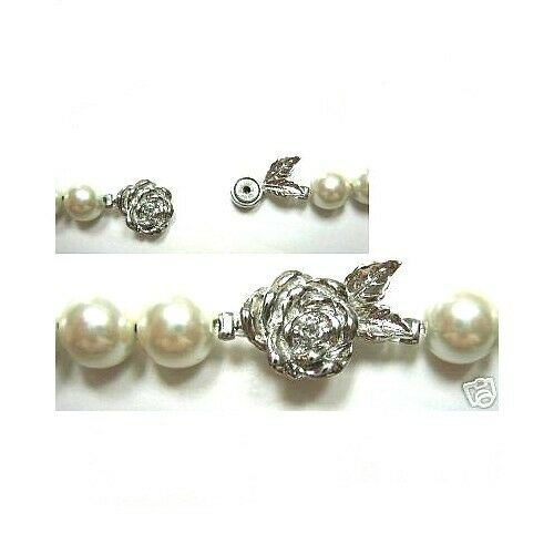 MAGNETIC JEWELRY CLASP JEWELRY FLOWER ROSE DESIGN SILVER ALLOY 50 CLASPS MCF