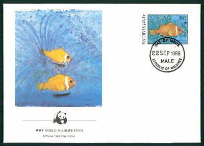 Malediven Schmuck-fdc 1986 Wwf Fauna Fische Fish Anemonenfisch Anemonefish Em01