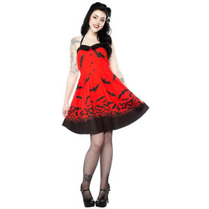 Sourpuss Neckholder Kleid Spooksville Dress Rot Ebay