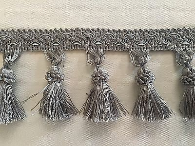 Luxurious Key Tassel Fringe Trim, Gimp Top – Grey or Silver