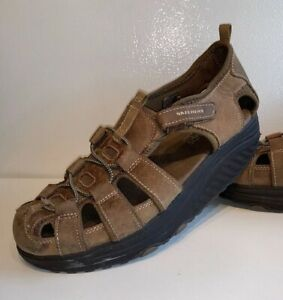 Details about SKECHERS SHAPE UPS Brown Distressed Leather Sport Sandals Women's Size 9.5 M