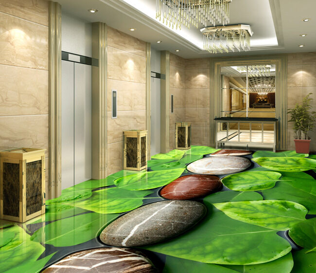 Stone Line Large Leaves  Floor Decals 3D Wallpaper Wall Mural