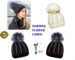 4a879440be3 Image is loading Womens-Winter-Fleece-Lined-Beanie-Hats-With-Diamantes-