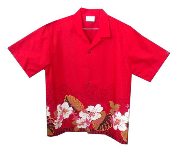Men White Hibiscus flower Red cotton blended Aloha Men Hawaiian Shirt-S-4XL