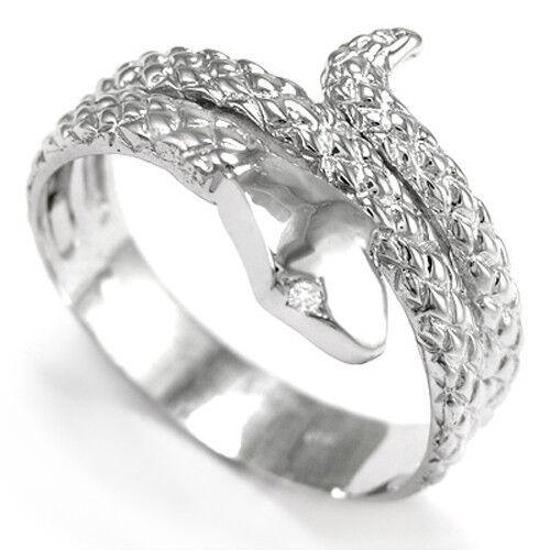 Men's Solid 14k White gold Snake F-VS1 Diamond Serpent Ring sizes 6 to 14  R933.
