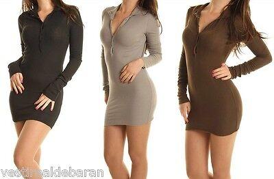 Miniabito Vestito Donna Abito KEY LOVER B735 Aderente Nero Tg Unica S//M