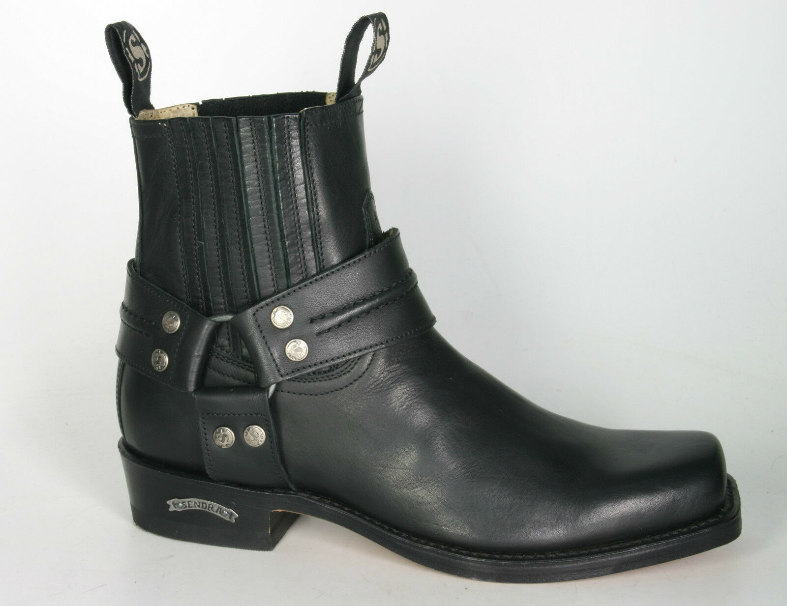 Sendra 2746 Men Cowboy Boots Black Leather Ankle Western Biker