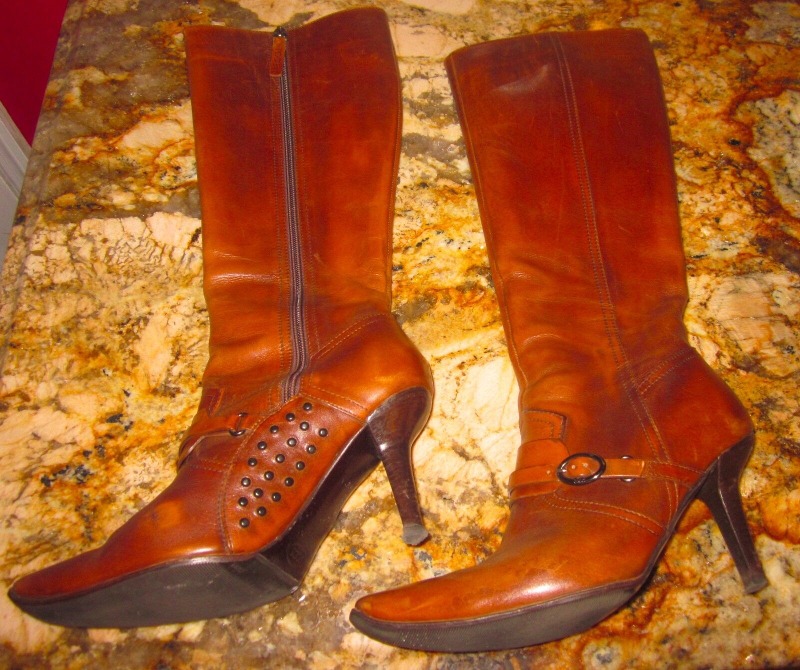 AMAZING TODS TOD'S marron Saddle Leather High High High Heel GORGEOUS  bottes 37.5 7 7.5 51d5fc