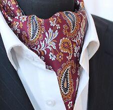 Cravat Ascot Burgundy Black & Gold Paisley Cravat with matching hanky.