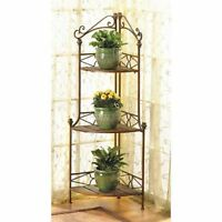 BAKER RACK AND PLANT STAND RUSTIC CORNER KITCHEN  HOME DECOR~~12517