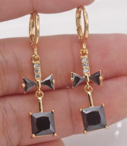 """18K Gold filled 1.5/"""" carré nœud noir onyx gemme Mariage Femmes Boucles D/'oreilles"""