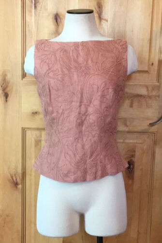 MARIE ST CLAIRE Light Salmon Embroidered Back Zip