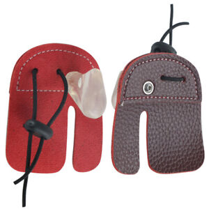 Archery Finger Protector Leather Guard Tab Gloves Hunting Shoot Recurve Bow HC