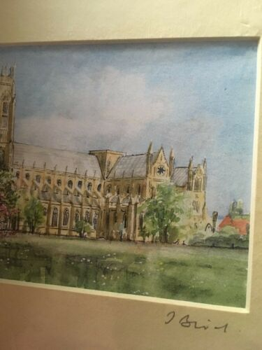 Small Watercolour Print Signed By Artist John Bird Beverley Minister Mounted