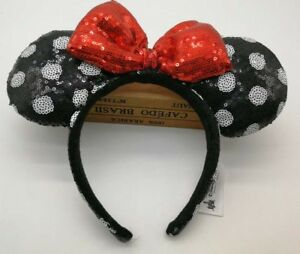 Disney Parks Mickey Red Bow Cute Minnie Mouse Ears Spots Black Sequins Headband