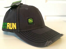 """John Deere Charcoal Gray Fabric Hat Cap w """"That's How We Run"""" Thick Stitching"""