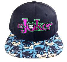 DC COMICS THE JOKER TEXT LOGO SUBLIMATED BATMAN FACES BILL SNAPBACK HAT CAP NWT