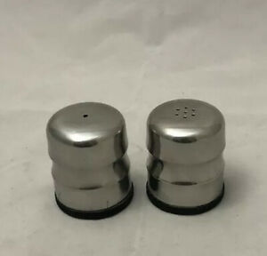 Vintage-Stainless-Steel-Dome-Salt-And-Pepper-Shakers-Hong-Kong-1960-039-s