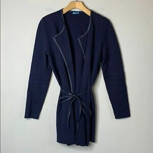 J-McLaughlin-Navy-Cotton-Cashmere-Tie-Waist-Cardigan-Sweater-Faux-Leather-Small