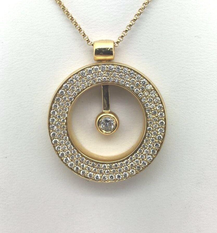 18k Yellow gold Round Circle Moving Pendant With 1.36 Ct. Diamond Retail   6764
